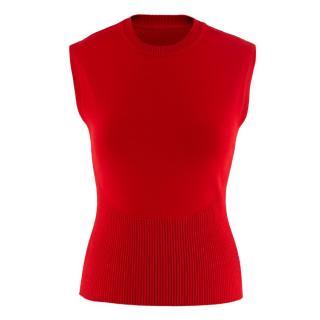 Alaia Red Stretch Knit Vest