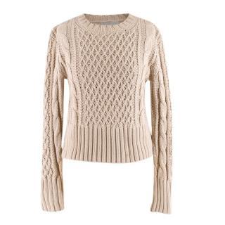 Acne Lia Cable Beige Cotton Knit Sweater