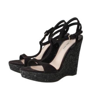 Miu Miu Black Glitter Wedge Sandals