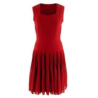Alaia Red Stretch Knit Pleated Sleeveless Dress