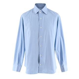 Simone Abbarchi Blue Striped Cotton Long Sleeve Tailored Shirt