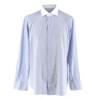 Emanuele Maffeis Blue & White Striped Cotton Tailored Shirt