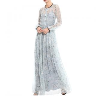 Max Mara Pale Blue Piacere Printed Floral Dress