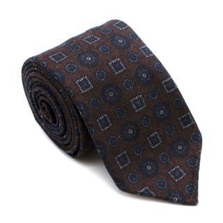 Drake's Brown with Navy Geometric Pattern Wool Tie