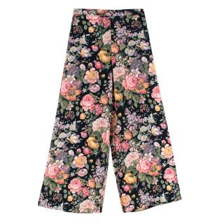 Zimmermann Black Floral Wide Leg Silk Trousers