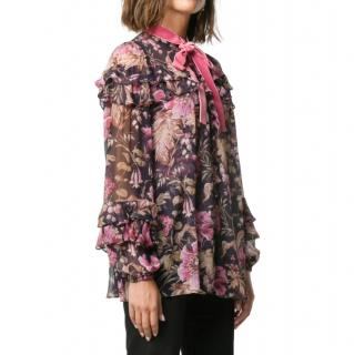 Zimmermann Black Floral Silk Ruffled Blouse