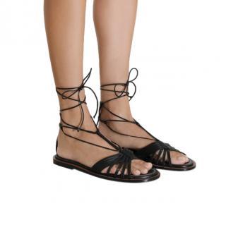 Zimmermann Black Leather Lace-Up Flat Sandals