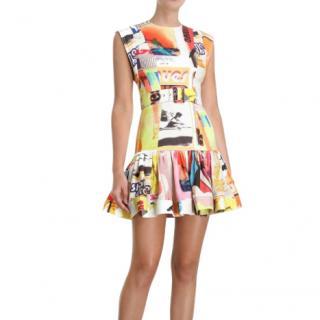 Zimmermann Brightside Fluted Belted Printed Linen Mini Dress