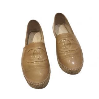 Chanel Patent Leather Beige Espadrilles