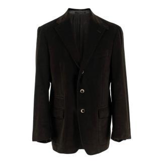 Corneliani Velvet Dark Brown Single Breasted Blazer