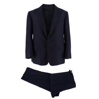 Hardy Amies Bespoke Blue Striped Wool Three-piece Suit