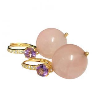 Bespoke Diamond & Amethyst Rose Quartz Earrings
