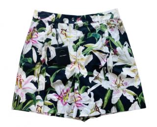 Dolce & Gabbana Lily Print Black Shorts