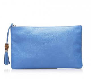 Gucci Blue Bamboo Leather Clutch Bag