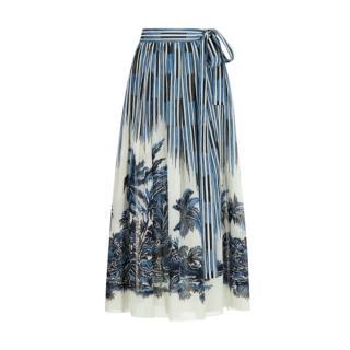 Dior Dior Palms Motif Printed Midi Skirt