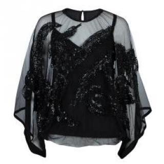 Elie Saab Black Sheer Embellished Blouse