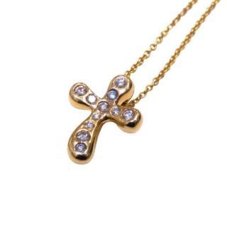 Tiffany & Co. Elsa Peretti Diamond Set Cross Necklace