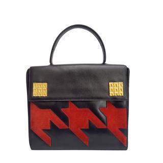 Celine Black & Red VIntage Top Handle Bag