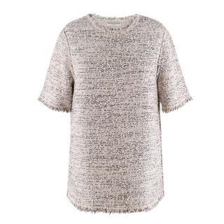Balenciaga Ivory & Black Tweed Short Sleeve top
