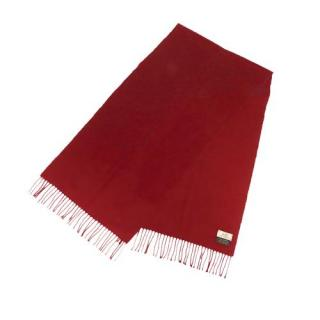 Hermes Red Cashmere Fringed Scarf 39 x 139 cm