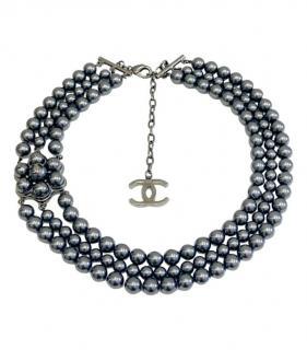 Chanel Silver Tone Faux Pearl Camellia Triple Strand Necklace