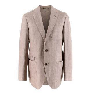 Ermenegildo Zegna Linen Beige Single-Breasted Jacket
