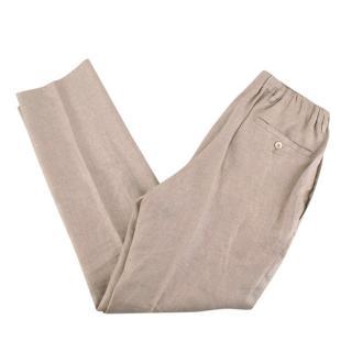 100% Capri Linen Beige Positano Trousers