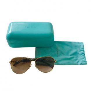 Tiffany & Co Golden Brown Aviator Sunglasses