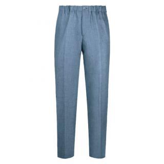 100% Capri Linen Blue Positano Trousers