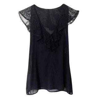 Dolce & Gabbana Black Lace Trim V Neck Blouse