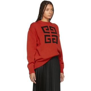 Givenchy Red Cotton 4G Logo Jumper