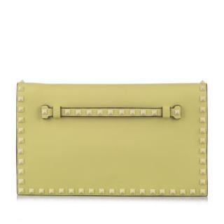 Valentino Green Leather Rockstud Wristlet/Clutch