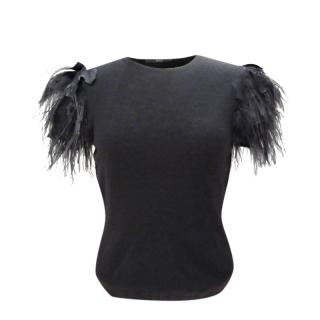 Boss Hugo Boss Black Cashmere Feather Trim Top