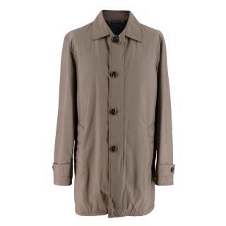 Ermenegildo Zegna Taupe Wool Lined Coat