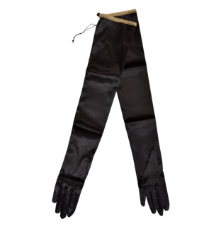 Gucci Black Satin Long Gloves with Gold Trim
