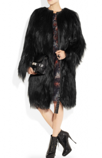 Mulberry Mongolian Goat Hair and Leather Coat