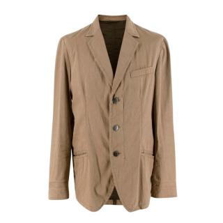 Armani Collezioni Beige Linen Blend Blazer Jacket