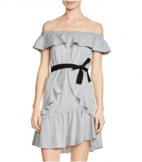 Maje Striped Off-Shoulder Ruffled Dress