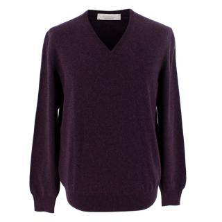 Ermenegildo Zegna Dark Purple V Neck Cashmere Sweater