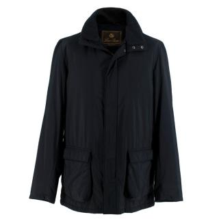 Loro Piana Black Storm System Jacket with Concealed Hood