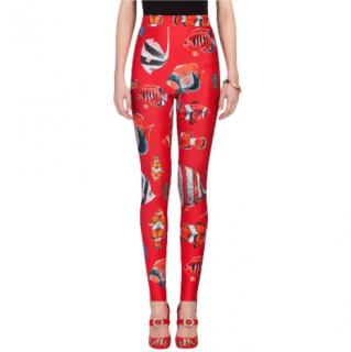 Dolce & Gabbana Tropical Fish Print Red Stirrup Leggings