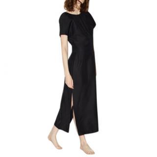 Raey Black Gathered-neck twill midi dress