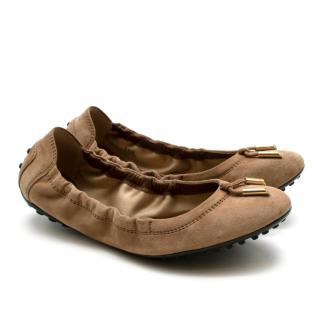 Tods Brown Suede Stretch Ballerina Flats