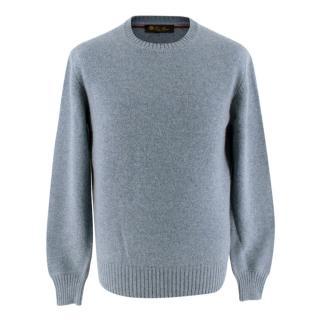 Loro Piana Blue Cashmere Knit Sweater