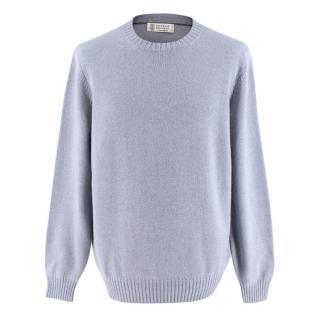 Brunello Cucinelli Blue Cashmere Knit Sweater