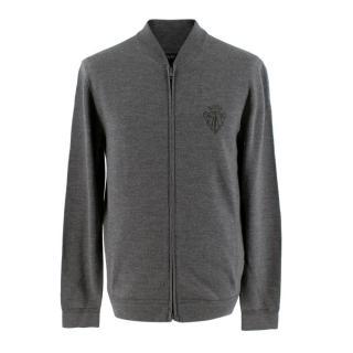 Gucci Grey Wool Zip Up Cardigan