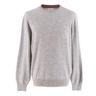 Brunello Cucinelli Grey Cashmere Knit Sweater