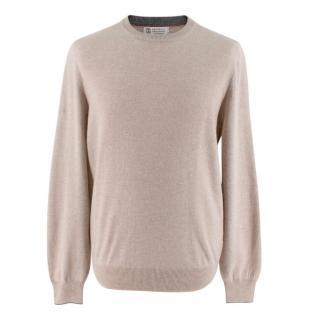 Brunello Cucinelli Beige Cashmere Knit Sweater