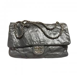 Chanel Glossy Grey Leather Large Flap Bag