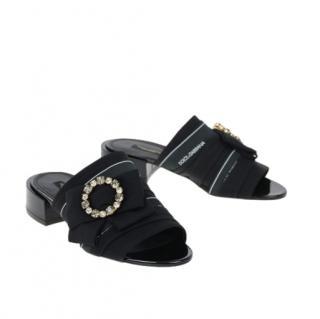 Dolce & Gabbana Black Logo Bow Crystal Slides